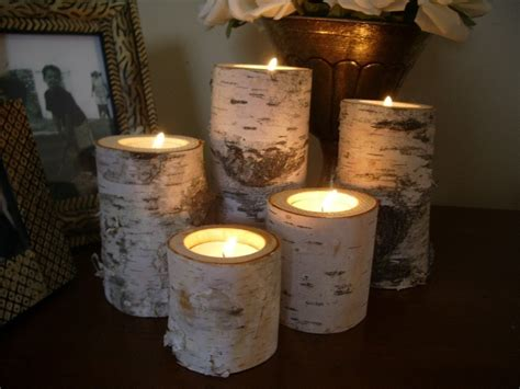 Birch Bark Log Candle Holders Tea Lights Set Of 5