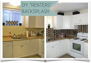 Diy quotrentersquot backsplash with vinyl tile for Kitchen cabinets lowes with how to make decal stickers