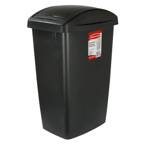 rubbermaid  gal swing top trash  kitchen wastebasket garbage bin black  ebay