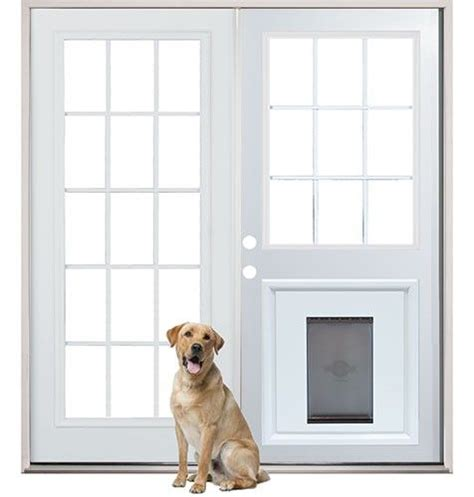 patio french  doors  pre installed pet doggy door