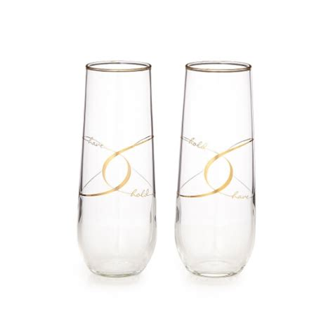 gold rim stemless champagne flutes supplier