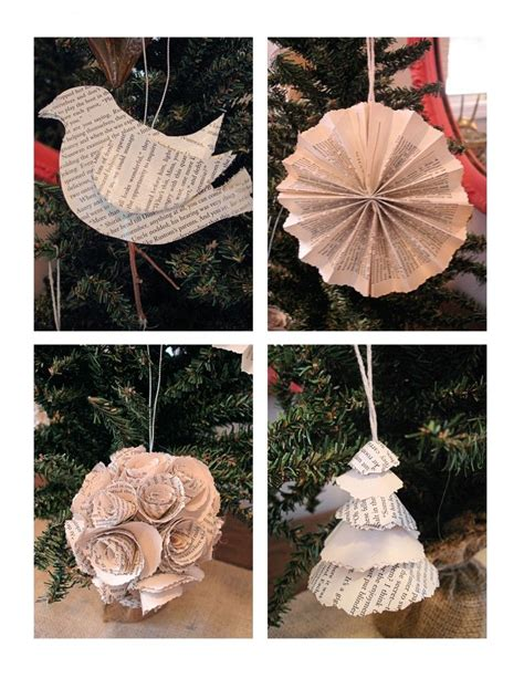 christmas crafts with used books tree ornaments from book pages paper crafts using books ornament paper