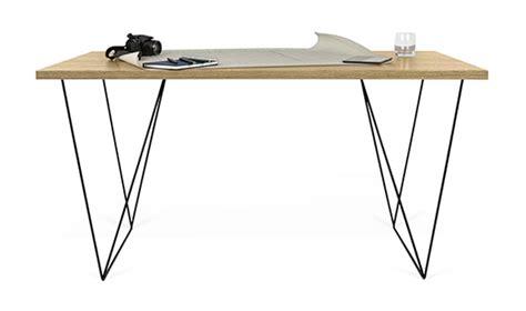 pied de bureau bois bureau design loft plateau en chn et pieds en mtal acier noir
