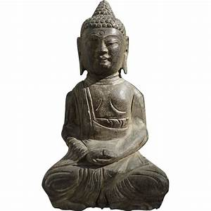 Antique Chinese Stone Sitting Buddha Statue From