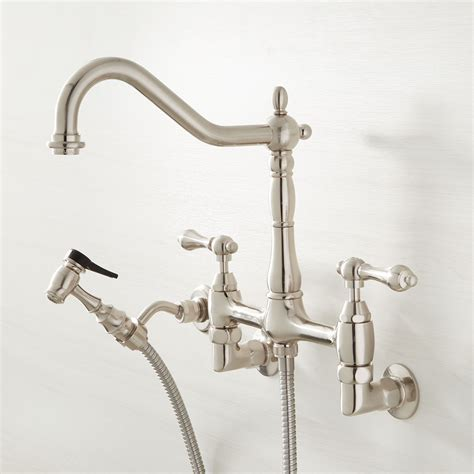 Wall Faucets Kitchen by Felicity Wall Mount Kitchen Faucet With Side Spray Wall