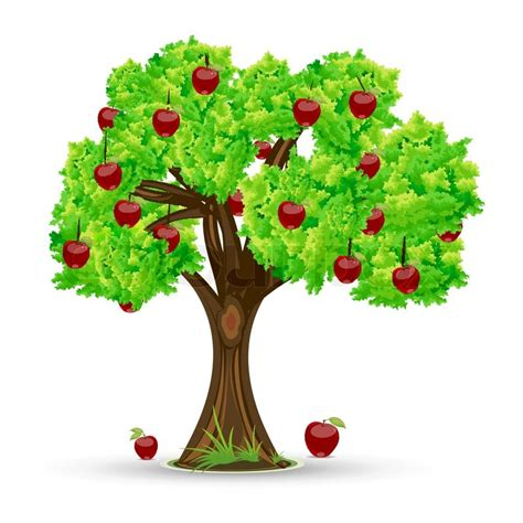 eco home plans illustration of apple tree on white background stock