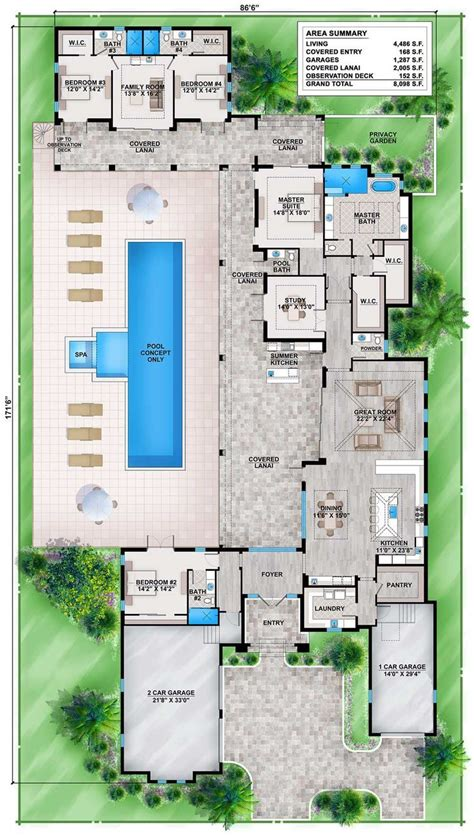 shaped house plans pool middle  outdoor kitchen courtyard home     stairs