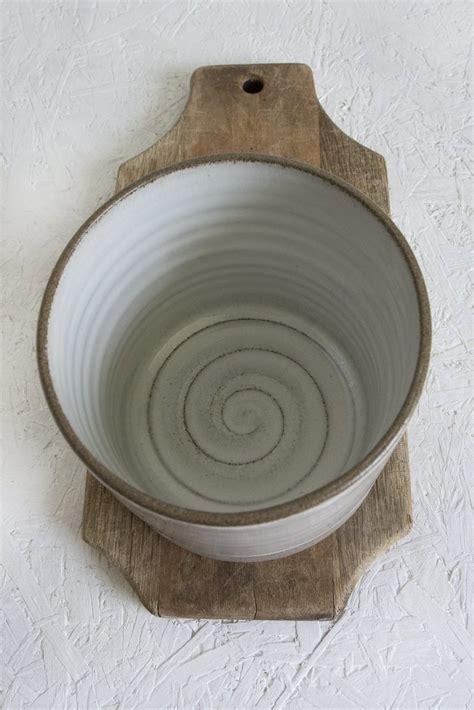 handcrafted pottery kitchen white  gray utensil holder