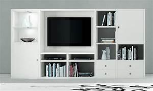 Bücherwand Mit Tv : wohnwand b cherwand mediawand lack wei matt ~ Michelbontemps.com Haus und Dekorationen