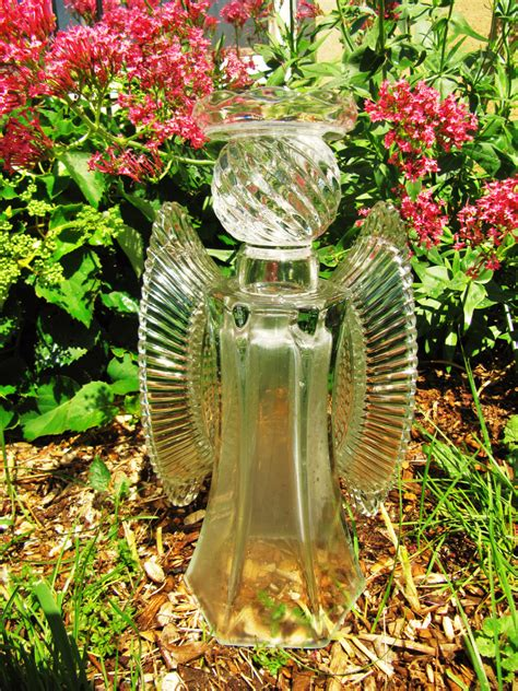 garden glass angel glass angel angel sculpture upcycled