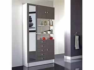 Meuble Rangement Salle De Bain But : armoire de salle de bain 1 miroir 4 portes 5 tiroirs ~ Dallasstarsshop.com Idées de Décoration