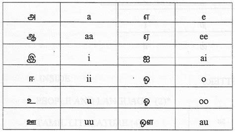 tamil alphabets  english chart tamil alphabet chart