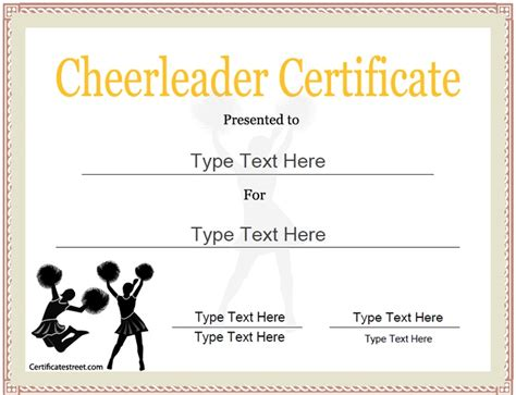 sports certificate cheerleader certificate