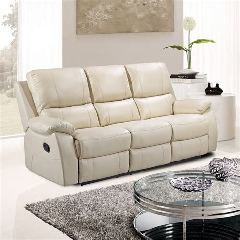 White Leather Sofa Recliner by Cameo Ivory Cream Leather Reclining Sofa Collection