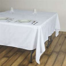 """90x90"""" Square Polyester Tablecloth  Black, White Or Ivory"""