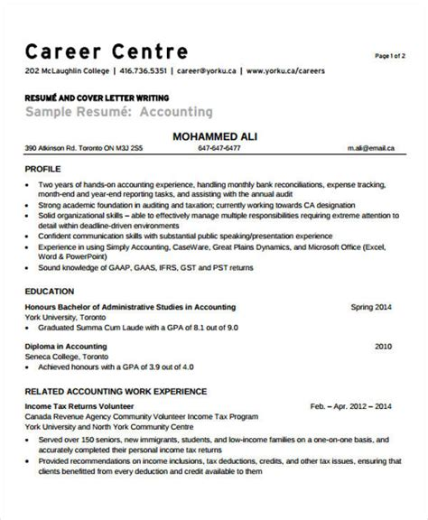 Experienced Accountant Resume by 31 Free Accountant Resumes
