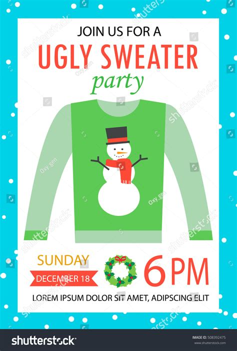ugly sweater party invitation snowman vector stock vector