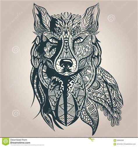 ornamental decorative wolf predator pattern stock vector image 58980588