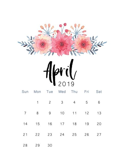 printable calendar print calendar april
