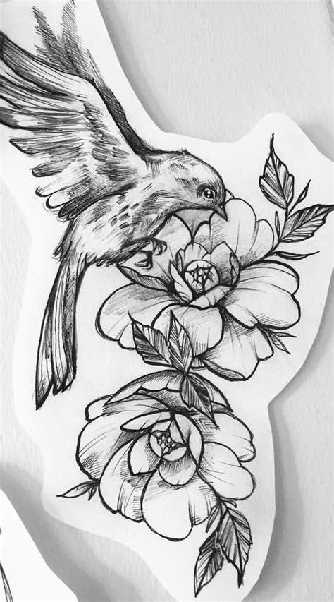 Flower With a Bird Tattoo Design - Easy Flower Tattoos - Easy Tattoos - Crayon