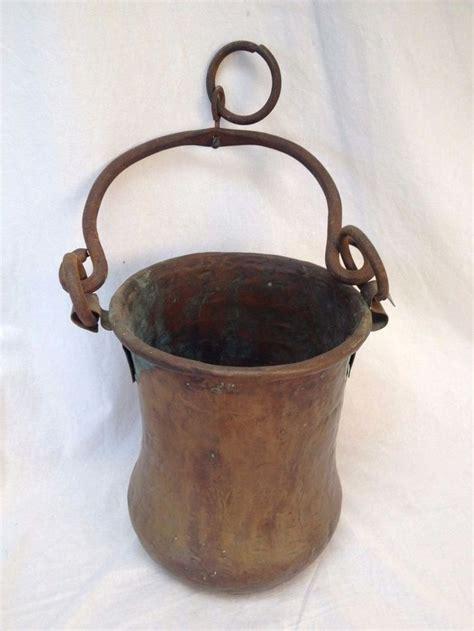 hammered copper pot  handle hanging antique vtg primitive rustic cauldron iron copper pots