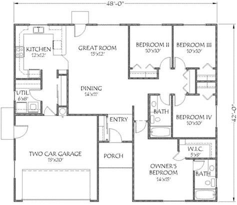 1500 sf house plans 1500 square 4 bedrooms 2 batrooms 2 parking space