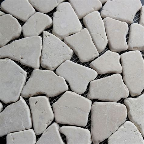 flat pebble mosaic tile cream flat stone pebble mosaic