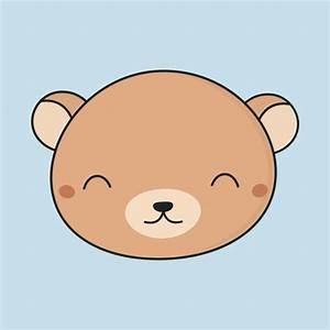 Kawaii Cute Brown Bear Face - Cute Bear - T-Shirt   TeePublic
