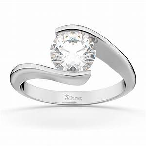 tension set swirl solitaire engagement ring setting 18k With tension set wedding rings