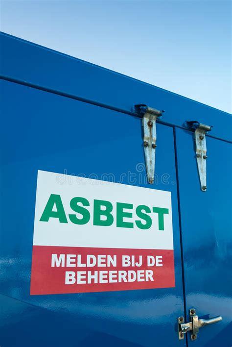 muestra holandesa del amianto en  envase azul imagen de