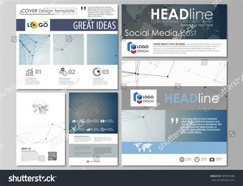 social media post template social media posts set business templates stock vector 583991608