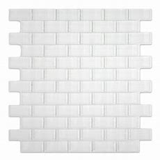 White 1x2 Mini Glass Subway Tile For Backsplashes, Showers