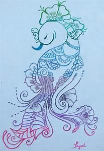 Mehndi Peacock Drawing by Artistic Indian Nurse