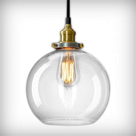 factory glass sphere pendant light clear industrial