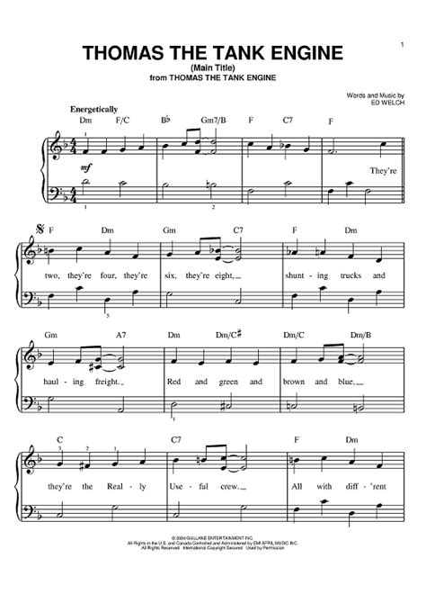 thomas the tank engine main title sheet music for