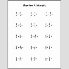 Fraction Arithmetic Practice Sheet  All This