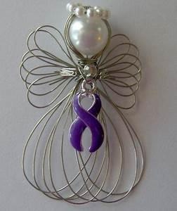 Purple Ribbon Awareness Angel Ornament Handmade - Ornaments