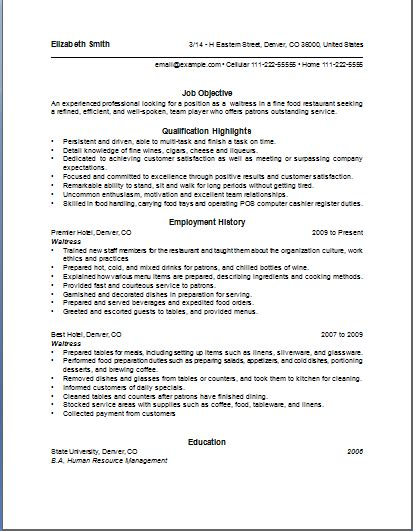 sample waiter resume job description of a waitress for a resume writing