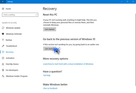 how to rollback uninstall windows 10 may 2019 update v1903