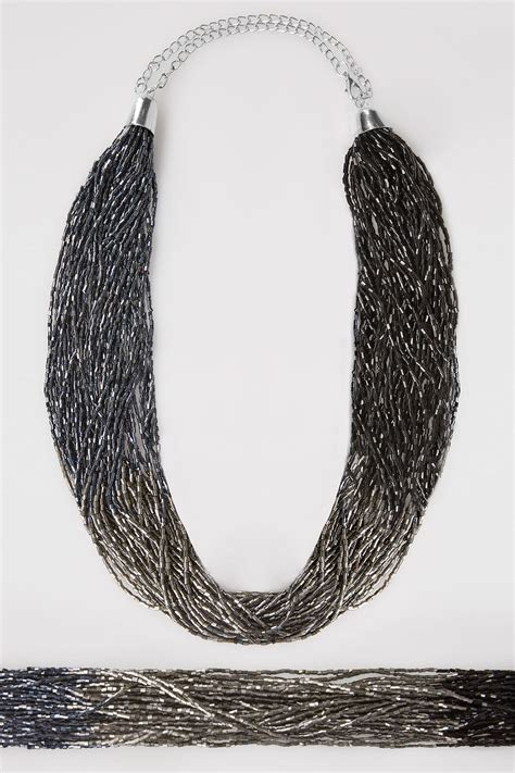 navy blue silver ombre beaded statement necklace