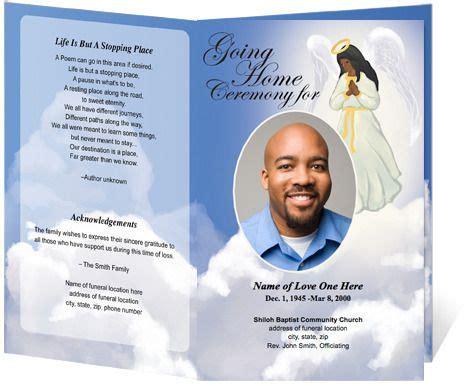 angel funeral program template light dark skin