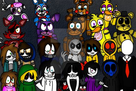 The Fnaf Crew And The Creepypasta Family By