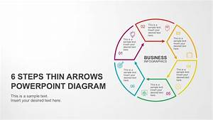 6 Steps Circular Thin Arrows Powerpoint Diagram