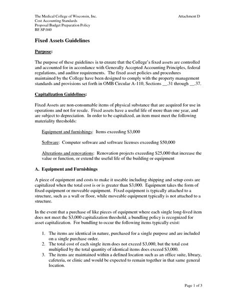 Fixed Asset Policy Template by Other Template Category Page 8 Efoza