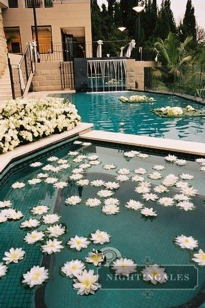 floating flowers  private estate pool