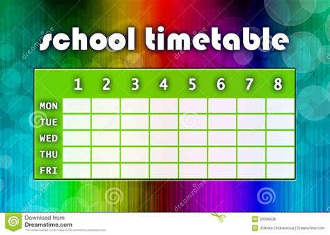 multicoloured timetable royalty  stock image image