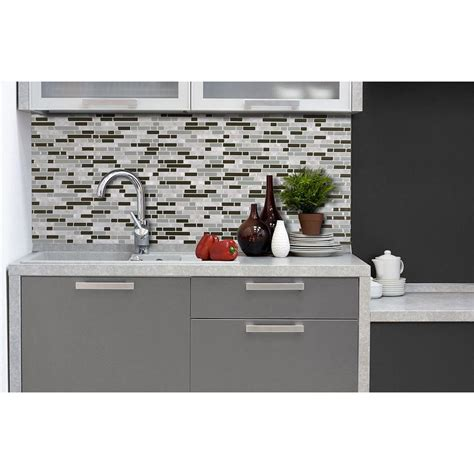 smart tiles kitchen backsplash smart tiles grigio 10 06 in x 10 00 in peel and stick 5573