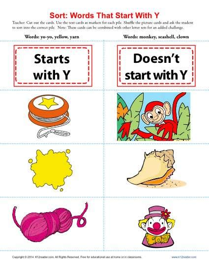 words starting with letter y beginning consonant worksheets 456 | sort words that start with y