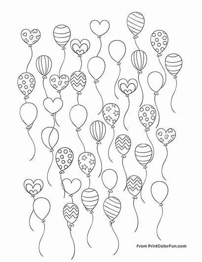 Balloons Lots Party Coloring Printcolorfun