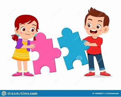 Puzzle Together Clipart Solve Play Boy Happy